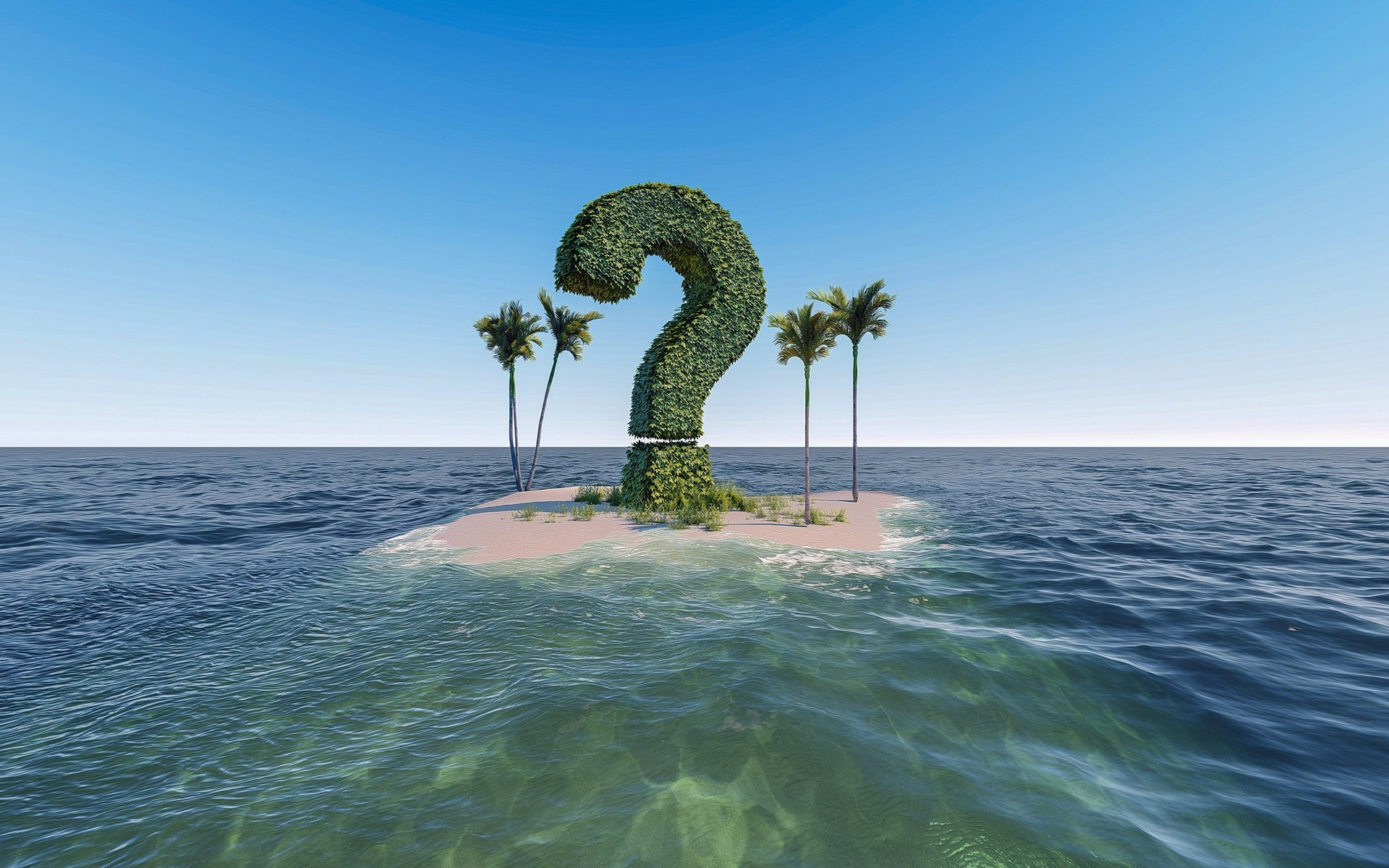 Question mark on isolated island